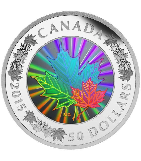 Maple Leaf Hologram 5 Oz Silver Coin 50 Canada 2015