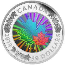 MAPLE LEAF Ologramma Moneta 5 Oz Argento 50$ Canada 2015