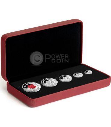MAPLE LEAF PREMIUM Set Anniversary Flag Silver Proof Coin 5$ Canada 2015