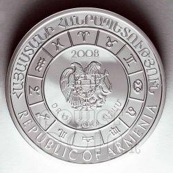 GEMINI Horoscope Zodiac Zircon Silber Münze Armenia 2008