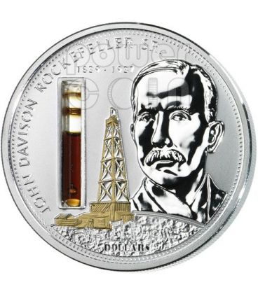 ROCKEFELLER John Financial Tycoons Silver Coin 10$ Cook Islands 2008
