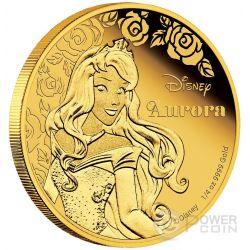 AURORA Disney Princess Principessa Bella Addormentata 1/4 oz Moneta Oro 25$ Niue 2015