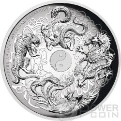 CREATURE MITOLOGICHE CINESI Chinese Ancient Mythical Creatures Alti Rilievi Moneta Argento 5 Oz 5$ Tuvalu 2015