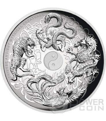 CHINESE ANCIENT MYTHICAL CREATURES Yin Yang High Relief 5 Oz Silver Coin 5$ Tuvalu 2015
