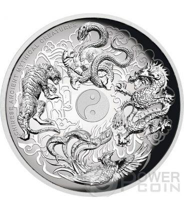 CREATURE MITOLOGICHE CINESI Chinese Ancient Mythical Creatures Alti Rilievi Moneta Argento 5 Oz 5$ Tuvalu 2015