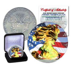 US SILVER EAGLE Ologramma Walking Liberty Oro Bandiera Moneta Argento 1$ US Mint 2008