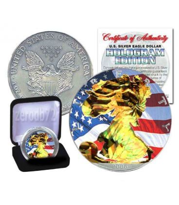 US SILVER EAGLE Hologram Walking Liberty 1 Oz Silver Coin 1$ US Mint 2008
