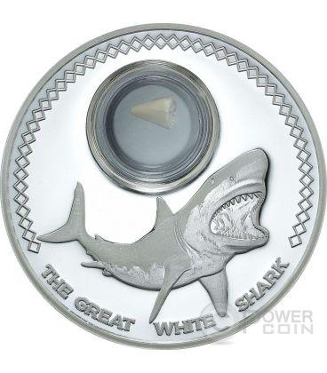 SHARK TOOTH Dente Fossile Grande Squalo Bianco Moneta Argento 5$ Tokelau 2014