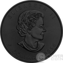 BURNING MAPLE LEAF Fire Black Ruthenium Gold 1 Oz Silver Coin 5$ Canada 2015