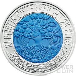 ENERGIE RINNOVABILI Erneuerbare Energie Niobio Moneta Bimetallica Argento 25€ Euro Austria 2010