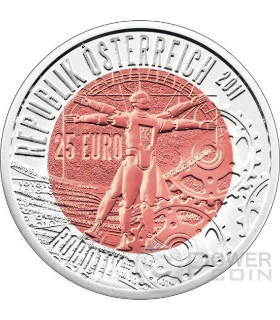 ROBOTIK Robotics Niobium Silver Bimetallic Coin 25€ Euro Austria 2011