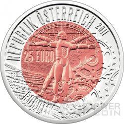 ROBOTIK Robotics Niobium Серебро Bimetallic Монета 25€ Euro Австрия 2011