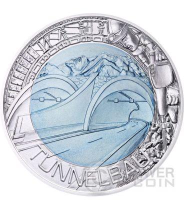 TUNNEL CONSTRUCTION Costruzione Tunnel Niobio Moneta Bimetallica Argento 25€ Euro Austria 2013