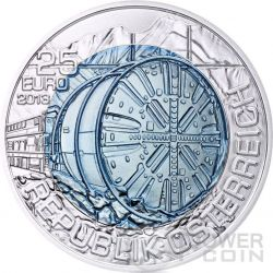 TUNNEL CONSTRUCTION Tunnelbau Niobium Silber Bimetallic Münze 25€ Euro Austria 2013