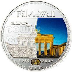 BERLIN WALL 20th Anniversary Fall Moneda Plata 5$ Palau 2009