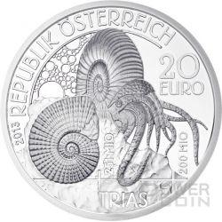 TRIASSIC Life In The Water Trias Prehistoric Life Silber Münze 20€ Euro Austria 2013