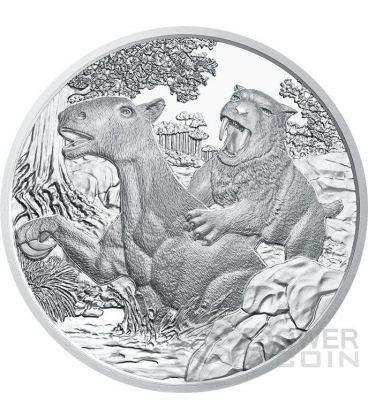 TERZIARIO Cenozoico Tertiary Life In The Ground Prehistoric Life Moneta Argento 20€ Euro Austria 2014
