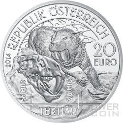 TERTIARY Life In The Ground Tertiar Prehistoric Life Silber Münze 20€ Euro Austria 2014