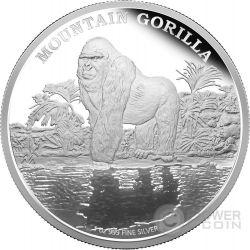 MOUNTAIN GORILLA Endangered Species 1oz Silver Coin 2$ Niue 2015