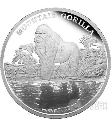 GORILLA DI MONTAGNA Mountain Endangered Species Moneta 1 oz Argento 2$ Niue 2015