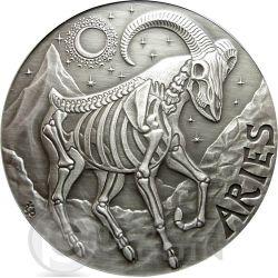 ARIES Memento Mori Zodiac Skull Horoscope Moneda Plata 2015
