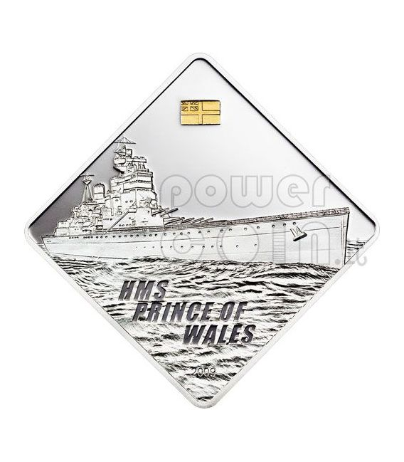 PRINCE OF WALES HMS Battleship 2 Oz Moneda Plata 10$ Palau 2009
