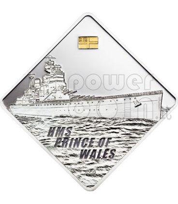 PRINCE OF WALES HMS Nave Corazzata Moneta Argento 2 Oz 10$ Palau 2009