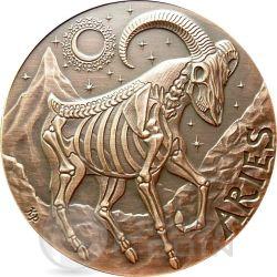 ARIES Memento Mori Zodiac Skull Horoscope Copper Moneda 2015