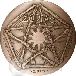ARIES Memento Mori Zodiac Skull Horoscope Copper Moneda 2015