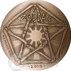 ARIES Memento Mori Zodiac Skull Horoscope Copper Монета 2015