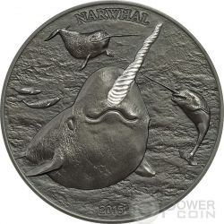NARWHAL Northen Fish Unicorn Sea High Relief Silver Coin 5$ Cook Islands 2015