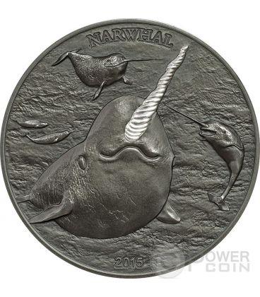 NARWHAL Narvalo Unicorno Dei Mari Alti Rilievi Moneta Argento 5$ Cook Islands 2015