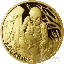 AQUARIUS Memento Mori Zodiac Skull Horoscope Gold Münze 2015