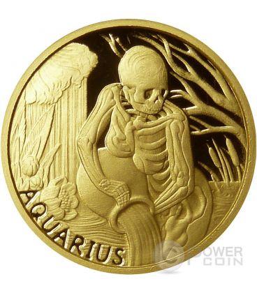 AQUARIUS Memento Mori Zodiac Skull Horoscope Gold Coin 2015