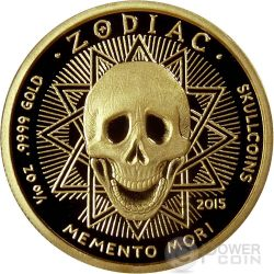 AQUARIUS Memento Mori Zodiac Skull Horoscope Gold Münze 2015