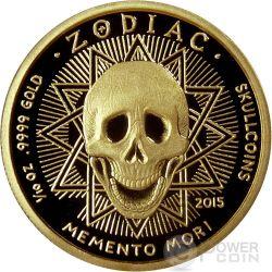 AQUARIUS Memento Mori Zodiac Skull Horoscope Moneda Oro 2015