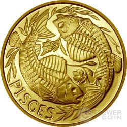 PISCES Memento Mori Zodiac Skull Horoscope Gold Coin 2015