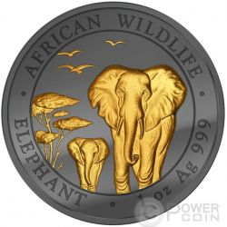 GOLDEN ENIGMA Elephant African Wildlife Black Ruthenium 1 Oz Серебро Монета 100 Шилингов Сомали 2015