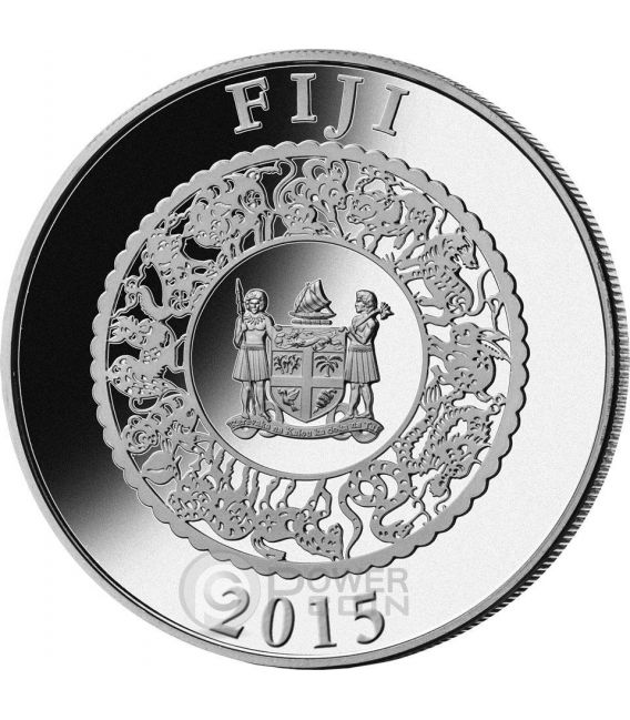 CAPRA PERLA GIALLA Goat Anno Lunare Cinese Moneta Argento 1 Oz 10$ Fiji 2015