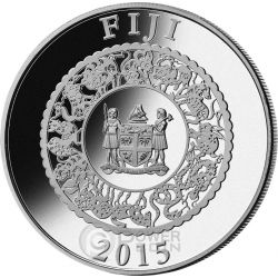 GOAT YELLOW PEARL Chinese Lunar Year 1 Oz Moneda Plata 10$ Fiji 2015