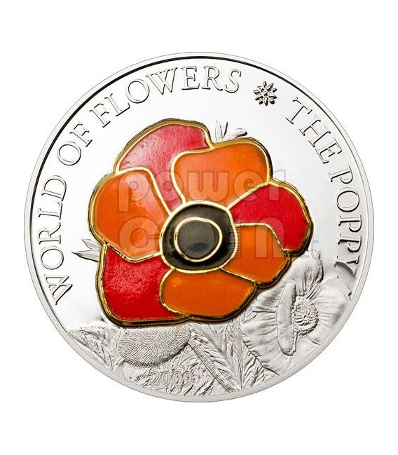 POPPY CLOISONNE Flower Silber Münze 5$ Cook Islands 2009
