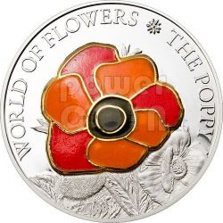 POPPY CLOISONNE Flower Moneda Plata 5$ Cook Islands 2009