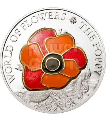 POPPY CLOISONNE Flower Silver Coin 5$ Cook Islands 2009