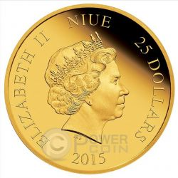 ARIEL Little Mermaid Disney Princess 1/4 oz Gold Proof Coin 25$ Niue 2015