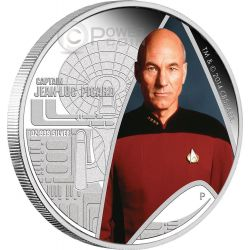 CAPTAIN JEAN LUC PICARD Star Trek Next Generation Moneta Argento 1$ Tuvalu 2015