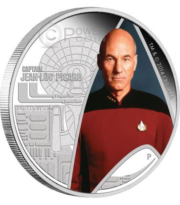 CAPTAIN JEAN LUC PICARD Star Trek Next Generation Moneta Argento 1$ Tuvalu 2015
