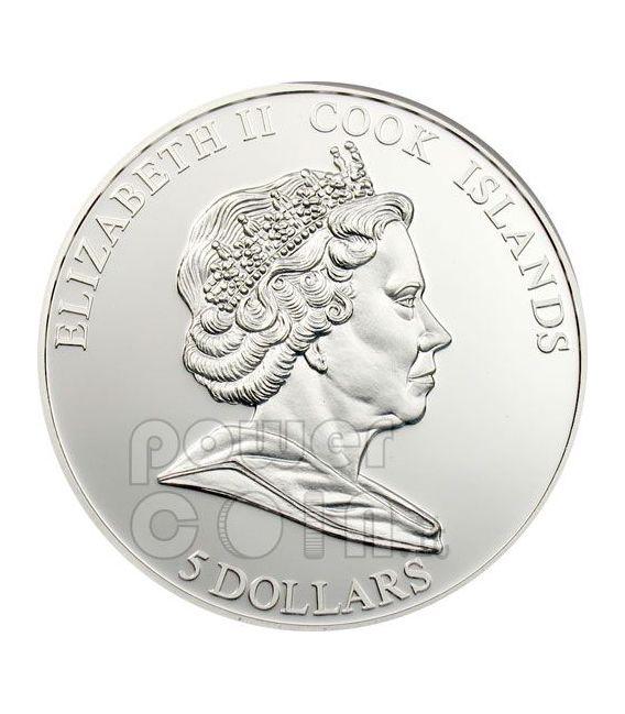 POPPY CLOISONNE Flower Moneda Plata 5$ Cook Islands 2009