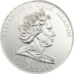 POPPY CLOISONNE Moneta Argento 5$ Cook Islands 2009