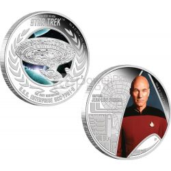 CAPTAIN PICARD ENTERPRISE Starship Star Trek Two Silver Coin Set 1$ Tuvalu 2015