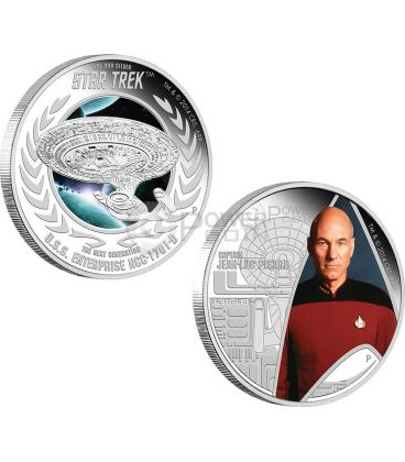CAPTAIN JEAN LUC PICARD ENTERPRISE Astronave Star Trek Next Generation Set Moneta Argento 1$ Tuvalu 2015